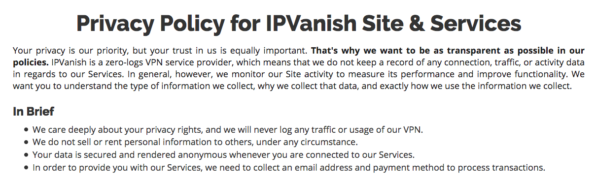 IPVanish Privacy Policy